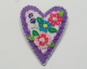 Purple and White Lovely Beaded Felt Heart Brooch