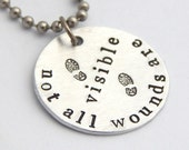 PTSD Awareness Necklace - Not All Wounds Are Visible Veteran Soldier