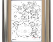 Princess Peach COLORING PAGE, Super Mario, Toad Stools, Children, Adult Color Page, DETAILED, Instant Download