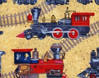 Old-Fashioned Trains – Fabric by the Half Yard