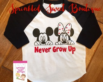 Never Grown Up Minnie Mickey Mouse Inspired Raglan Baseball Shirt Custom Women Men Child Family Perfect for Disney World Trip First Birthday