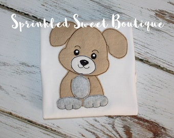 Boys Puppy Dog Applique Shirt Add Name Monogram Perfect for Birthday Baby Shower Gift