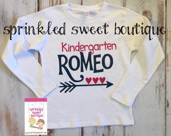 Kindergarten Romeo Boys Valentines Day Custom Short Sleeve or Long Sleeve Shirt Can Customize Colors