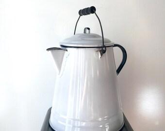 Vintage • Large • Enamelware • Coffee Pot • Tea Kettle