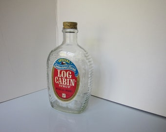 Vintage 1976 Bicentennial Lob Cabin Syrup Bottle