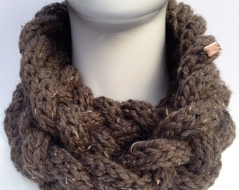 Braided Knit Scarf, Knit Cowl, Knit Infinity Scarf, Knit Neck Warmer, Winter Accessories, Brown, Barley, Christmas Gifts, Gifts under 30
