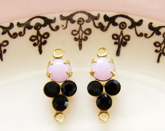 Petite Pink Alabaster and Jet Black Swarovski Rhinestone Connectors Round Stones in Brass 2 ring Link Settings - 2