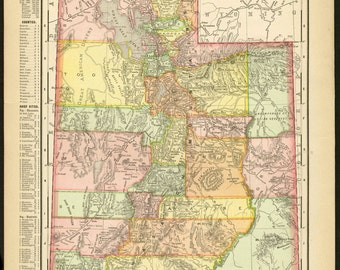 Vintage Map Utah From 1903 Original