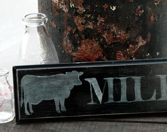 Rustic Fresh Milk Wood Sign, Fresh Milk Kitchen Sign, Fresh Milk Chalk Sign, Chalk Art, Vintage Style Fresh Milk Wall Decor, Wall Hanging