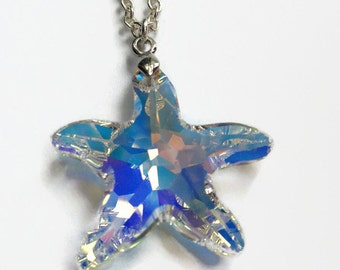 Swarovski Starfish, Crystal Starfish, Starfish Necklace, Summer Jewelry, Beach Necklace