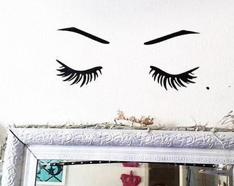"1 Large 20"" Beauty Face Vinyl Decal Lashes Eyebrows Mole Hot Eyes Wall Decal Eyelashes Makeup Home Interior Design Art Murals Bedroom Decor"