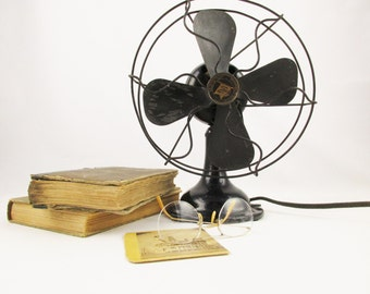 A 'Robbins-Myers Co' Small Black Fan From the 1930s - Small Black Metal - Fun & Functional - Vintage Fan - Springfield, Ohio