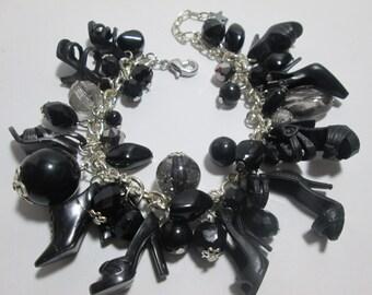 BLACK  Barbie Shoe Bracelet / item 7-124