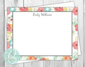 Watercolor Flowers Stationery - Flat Note Cards - Floral Border - Set of 12 - Personalized Thank You Cards - Bohemian Retro Pink