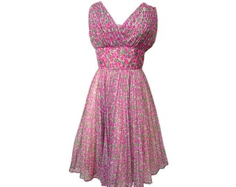 Vintage 1950s Party Dress Floral Print Organza Pleated Bodice & Full Skirt