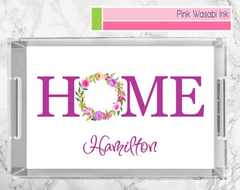 Home Tray Monogrammed Acrylic Tray Personalized Lucite Tray Custom Serving Tray Choose Colors