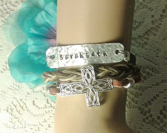 Personalized Leather Cross Bracelet, Hand Stamped Leather Bracelet, Layered Leather Bracelet, Personalized Bracelet, Name Leather Bracelt
