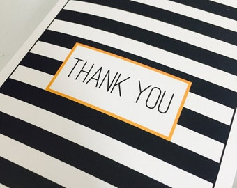 Stiped Black and White Thank You Card (Pack of 4)