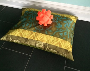 Batik Pet Bed Cover, Turquoise Olive Small Pet Bed Cover, Dog Pillow Cover, 20x26 Dog Bed