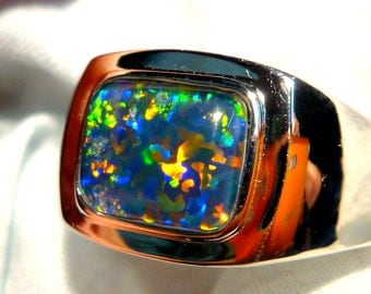 Mens Opal Ring Sterling Silver, Natural Opal Triplet. 10x8mm Rectangle. item 90644