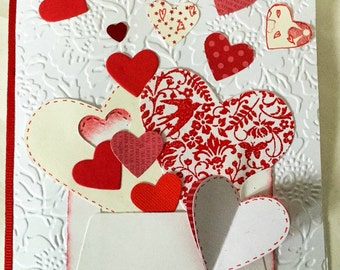 Unique Handmade card: Valentine's cards - red Hearts - Hugs and Kisses - mini envelopes - hand stamped - anniversary card - hand made cards