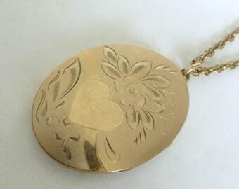 Vintage 1940's 12K Gold Filled Floral Heart Engraved Oval Locket Long Necklace