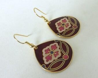 Vintage Floral Enamel Teardrop Earrings