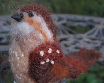 Miniature needle felted wren bird