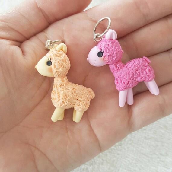 Kawaii Llama, Llama Polymer Clay Charm, Polymer Clay Pendant, Pink, Pastel, Llama, polymer clay, clay pendant, Kawaii, Chibi, Clay Charm