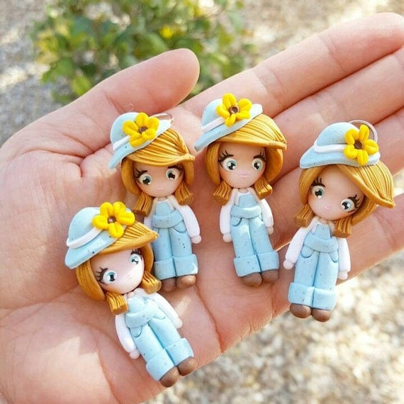 Sunflower Girl Necklace, Fall, Autumn, Thankgiving, Polymer Clay Pendant, Necklace, polymer clay, clay pendant, Kawaii, doll, charm