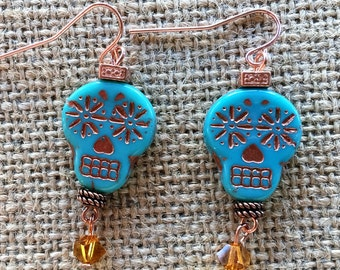 Turquoise (color) and Copper Dia de los Muertos Earrings Trimmed with Swarovski Crystals
