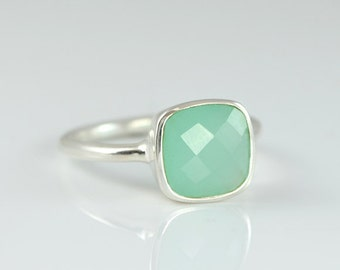 Aqua Blue Seafoam Chalcedony ring - cushion ring - stackable birthstone ring - gemstone ring sterling silver - March Birthstone - bezel ring