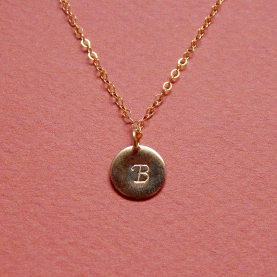 initial coin necklace dainty monogram necklace shiny by