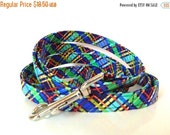 "Sale 50% Off Leash to go with Dog Collar - Blue Plaid -""Trevor"""