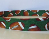 """Football Dog Collar - Footballs on Green Fabric - """"Football"""" - NO EXTRA CHARGE for colored buckles"""