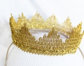 Gold Baby Crown Headband Gold Lace Crown Baby Photo Prop Newborn Golden Crown Baby Girl or Boy Crown