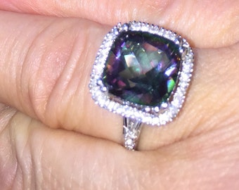 Purple Crystal Ring Iridescent Purple & Green Miracle Crystal Sterling Silver Solitaire Ring Size 7