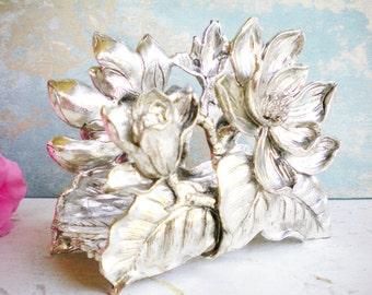 Vintage Ornate Napkin Holder/ Letter Holder/Pewter Metal Holder/For Serving/Office Decor/Wedding Decor/Unique Gift