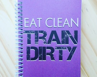 TrainRite Compact Fitness Journal - Eat Clean Train Dirty (Purple)