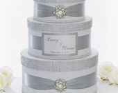 Wedding Card box / Card holder / Wedding money box - 3 tier - silver