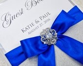 Wedding Guest Book - Personalized - silver and royal blue - brooch / glitter