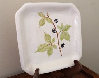 Blackberry dessert plate, Square Black Berry serving plate, Blackberry dish, country Farm to Table Cullinary Gift