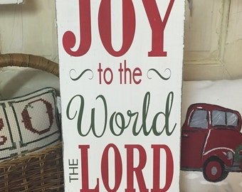 Joy to the World hand painted wood sign - Christmas holiday decor - customizable