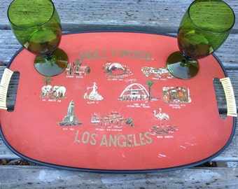 Hollywood Los Angeles souvenir vintage serving tray, wrapped handles, painted Southern California icons, hard to find, Japan, 1960's