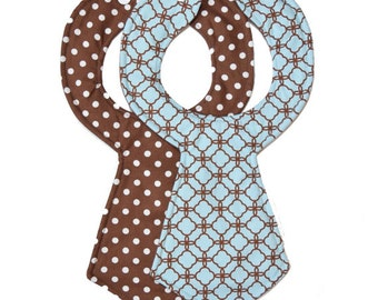 Mint Chocolate Baby Necktie Bibs (Set of 2)