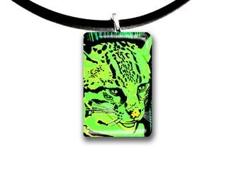 neon green, blacklight, Ocelot, jungle cat art pendant, glass tile pendant, wild animal artwork, wild cat