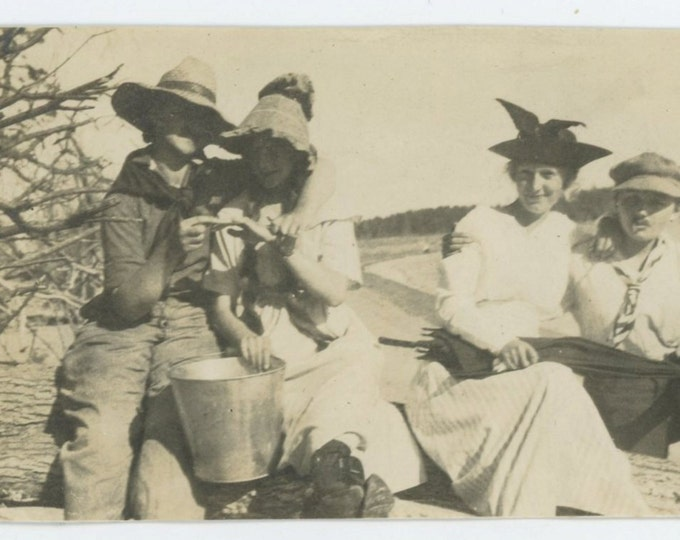 Two Couples, Cross-Dressed Women, c1910s Vintage Snapshot Photo [65455]