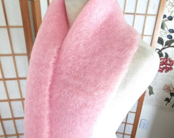 Vintage 60s Pink Mohair Scarf Made In Great Britain for Joseph Magnin