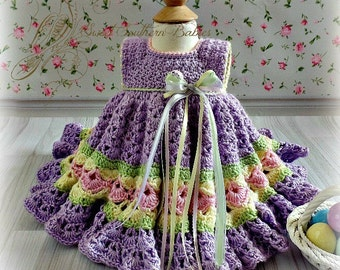 Baby and Toddler Girl's Lavendar Frilly Dress with Bright Spring Colors- Newborn to 2 Years - Easter - Spring - Summer