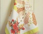 autumn floral vintage tea towel